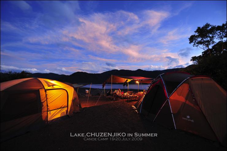 中禅寺湖畔の夕暮れ